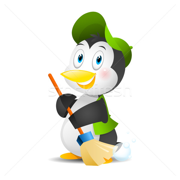 Penguin with a broom Stock photo © yuriytsirkunov