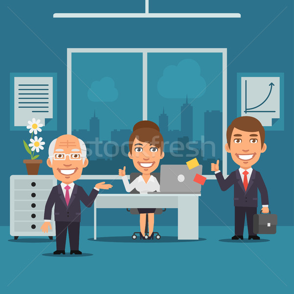 Stock photo: Businesswoman and Businessman in Office Smiling