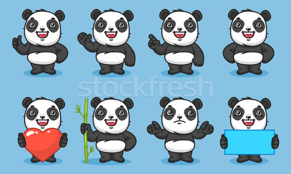 Panda Set Characters Part 1 Stock photo © yuriytsirkunov