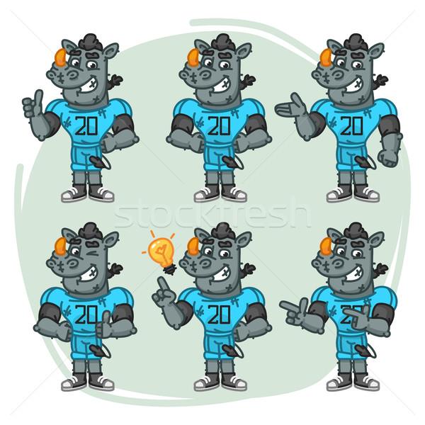 Character Set Rhino Football Player Shows and Points Stock photo © yuriytsirkunov