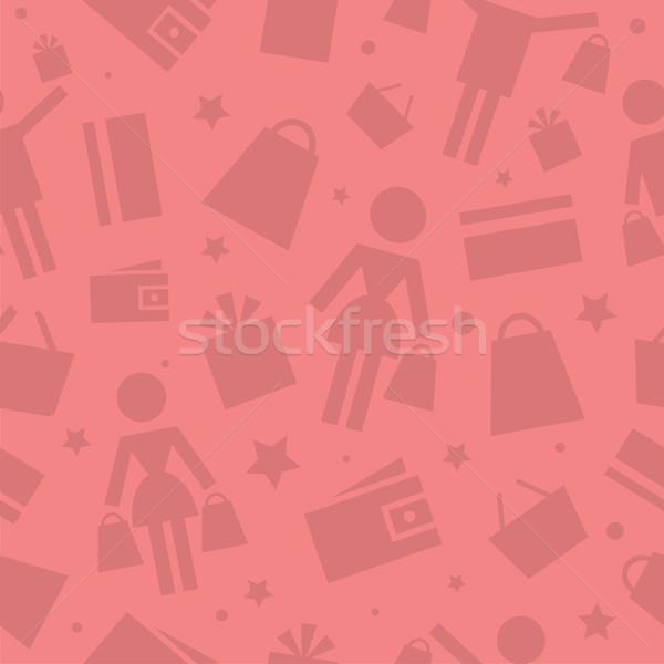 Pattern shopping store icons Stock photo © yuriytsirkunov