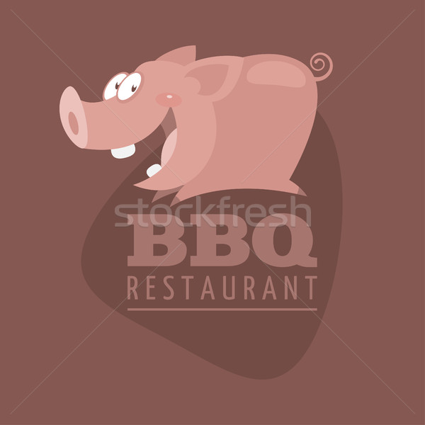 Bbq restaurants embleem varken illustratie formaat Stockfoto © yuriytsirkunov