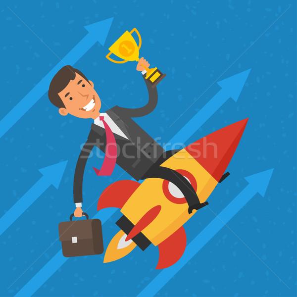 üzletember repülés rakéta csésze illusztráció formátum Stock fotó © yuriytsirkunov