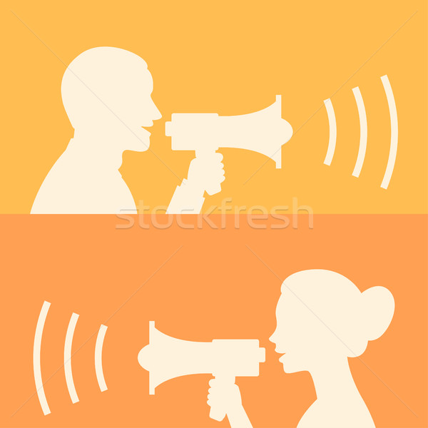 Woman and man says in loudspeaker Stock photo © yuriytsirkunov