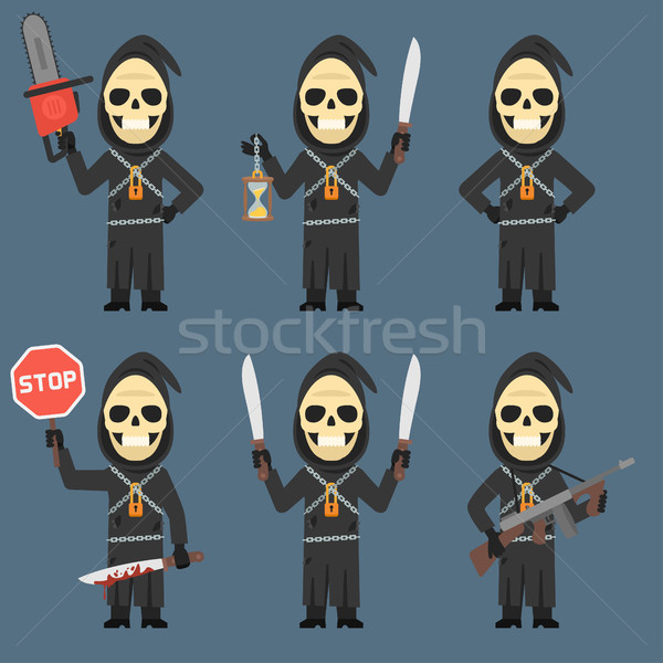Death Holds Hourglass Machete Weapons Chainsaw Stock photo © yuriytsirkunov