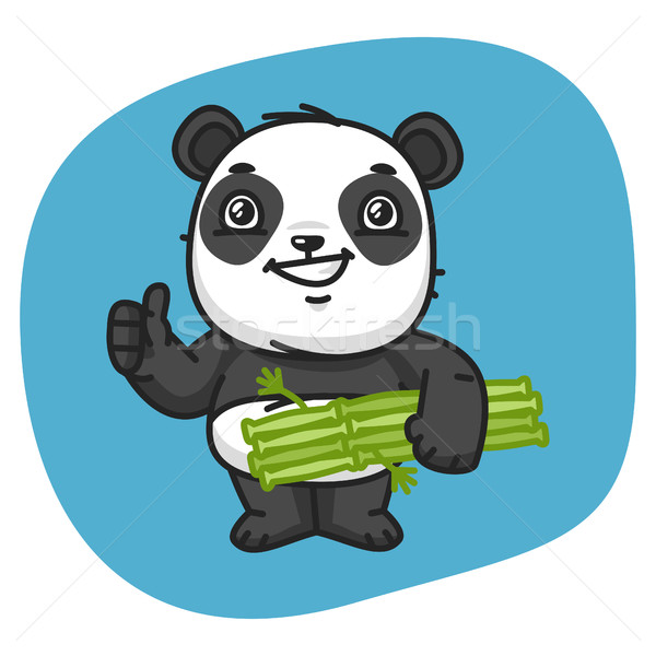 Panda Holds Bamboo and Showing Thumbs Up Stock photo © yuriytsirkunov