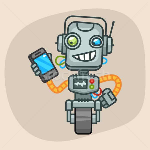 Robot tart mobiltelefon formátum eps 10 Stock fotó © yuriytsirkunov
