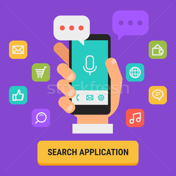 Concept Search for App Icons Hand Holding Mobile Phone Stock photo © yuriytsirkunov