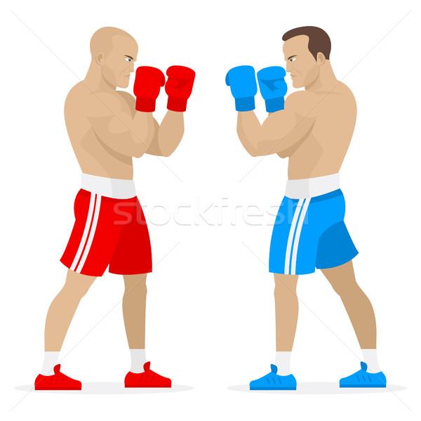 Boxeralsó sportolók áll fogas illusztráció formátum Stock fotó © yuriytsirkunov