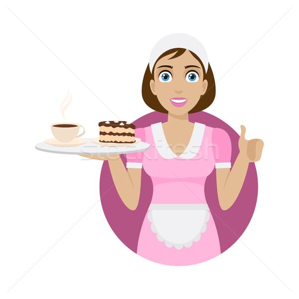 Girl holds tray with coffee and cake Stock photo © yuriytsirkunov