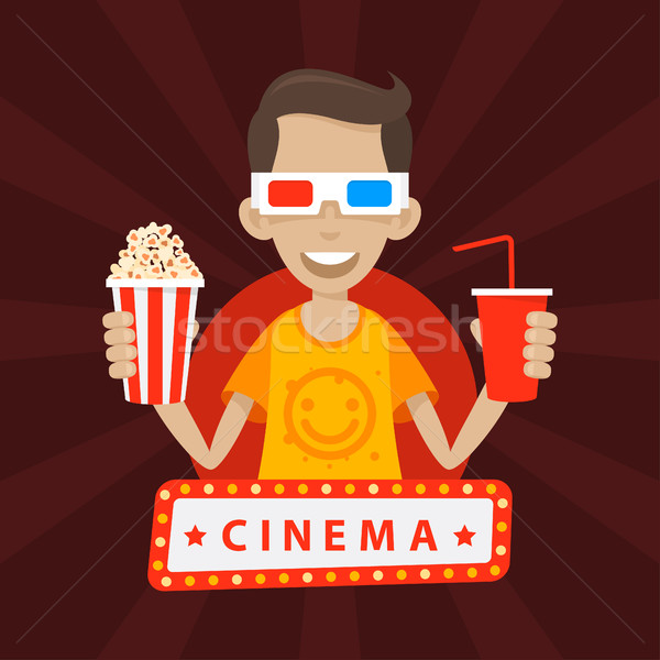 Teenager smiles in 3D glasses Stock photo © yuriytsirkunov