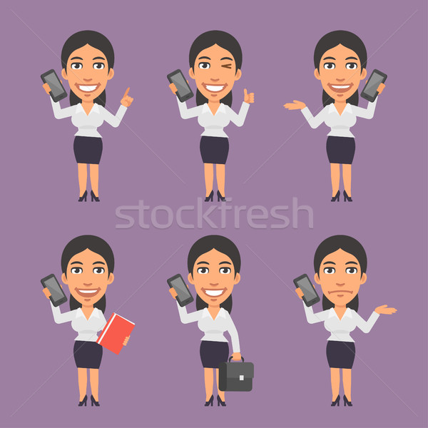 üzletasszony tart mobiltelefon különböző formátum eps Stock fotó © yuriytsirkunov