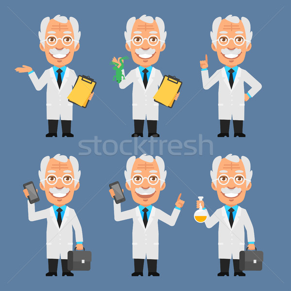 Old Professor Holds Suitcase Frog Test Tubes Stock photo © yuriytsirkunov