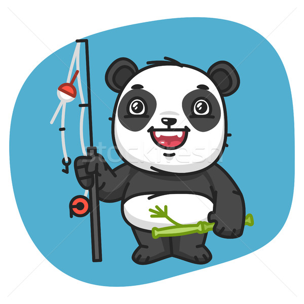 Panda canne à pêche format eps 10 design Photo stock © yuriytsirkunov