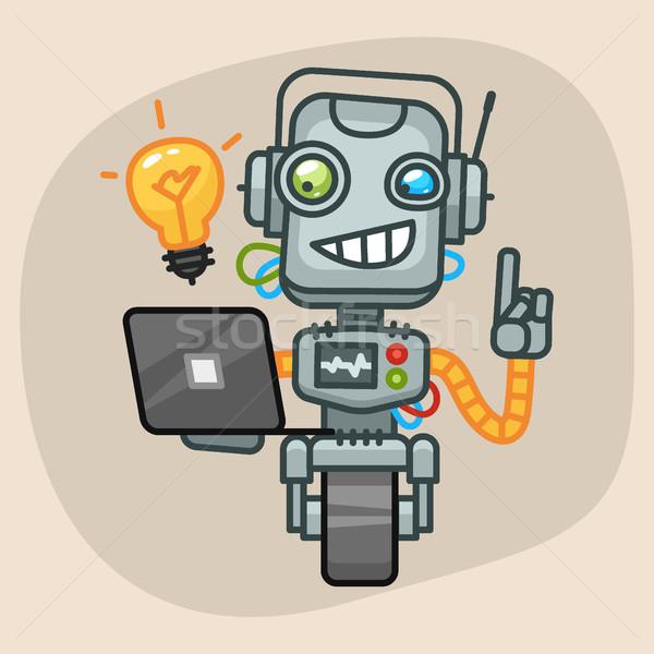 ロボット ノートパソコン アップ アイデア フォーマット ストックフォト © yuriytsirkunov