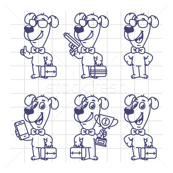 Sketch Set Characters Dog Businessman Holding Suitcase Cup Phone Stock photo © yuriytsirkunov