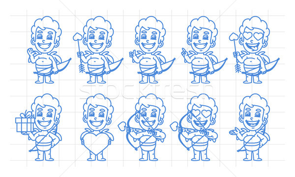 Character set cupid in various versions scribble part 1 Stock photo © yuriytsirkunov