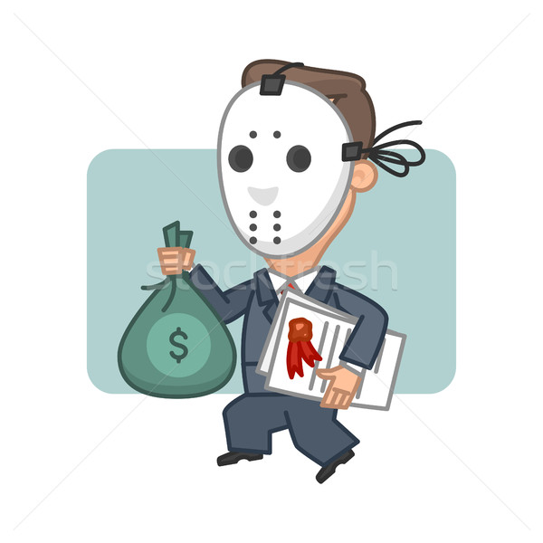 Stock photo: Businessman thief holding money and securities
