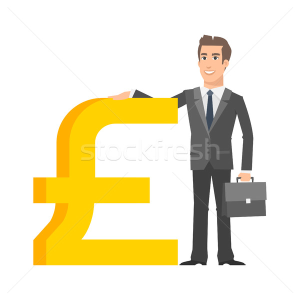 Businessman standing near with pound sterling sign Stock photo © yuriytsirkunov