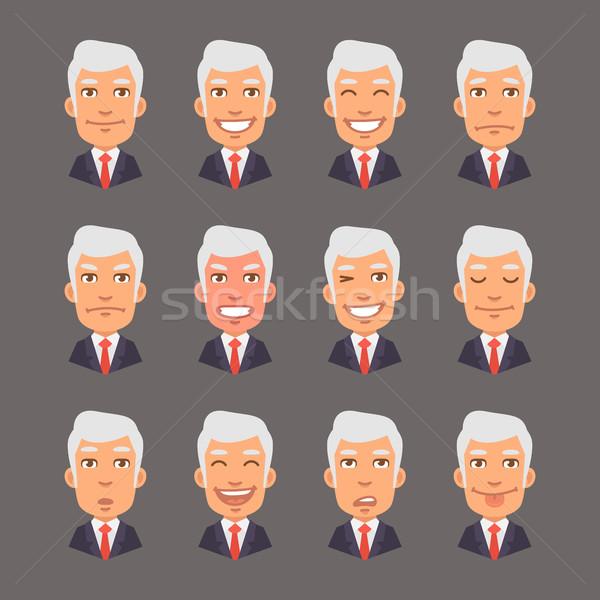 Set Emotions with Gray Hair Businessman Stock photo © yuriytsirkunov