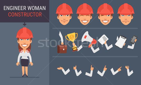 Constructor Character Engineer Woman Stock photo © yuriytsirkunov