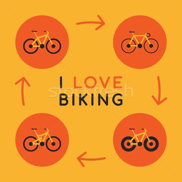 Szeretet motorozás ikonok különböző biciklik szett Stock fotó © yuriytsirkunov