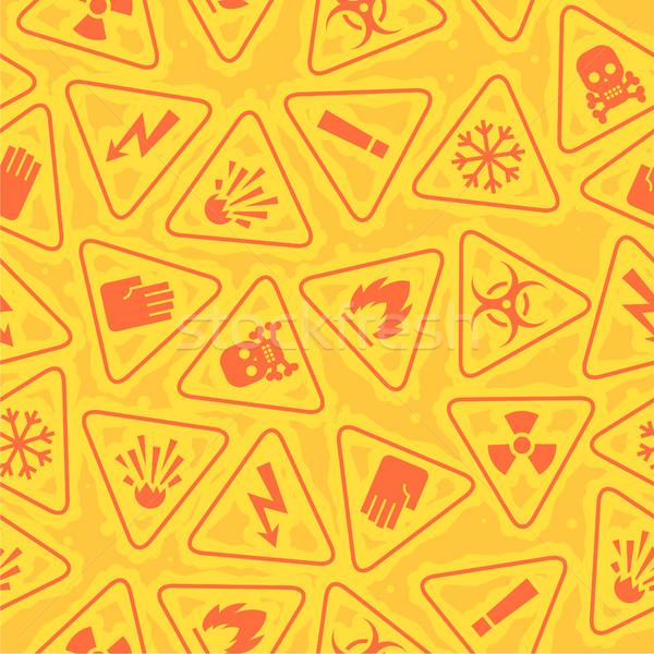 Wzór ostrzeżenie znaki niebezpieczeństwo ilustracja format Zdjęcia stock © yuriytsirkunov