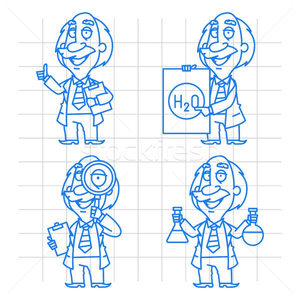 Stockfoto: Hoogleraar · doodle · ingesteld · illustratie · formaat · eps