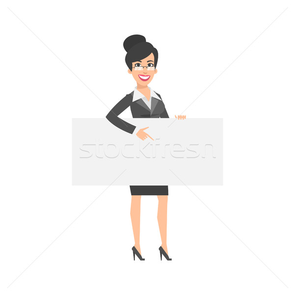 Businesswoman indicates on empty nameplate Stock photo © yuriytsirkunov