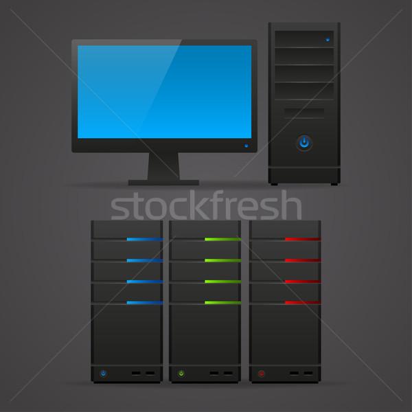 Obiektu monitor komputerowy serwera ilustracja format eps Zdjęcia stock © yuriytsirkunov