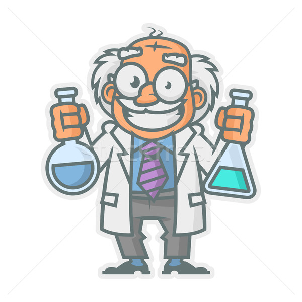 Professor holding test tubes Stock photo © yuriytsirkunov