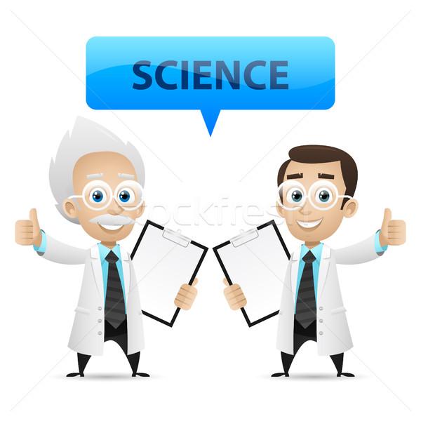 Wetenschappers tonen duim omhoog illustratie formaat Stockfoto © yuriytsirkunov