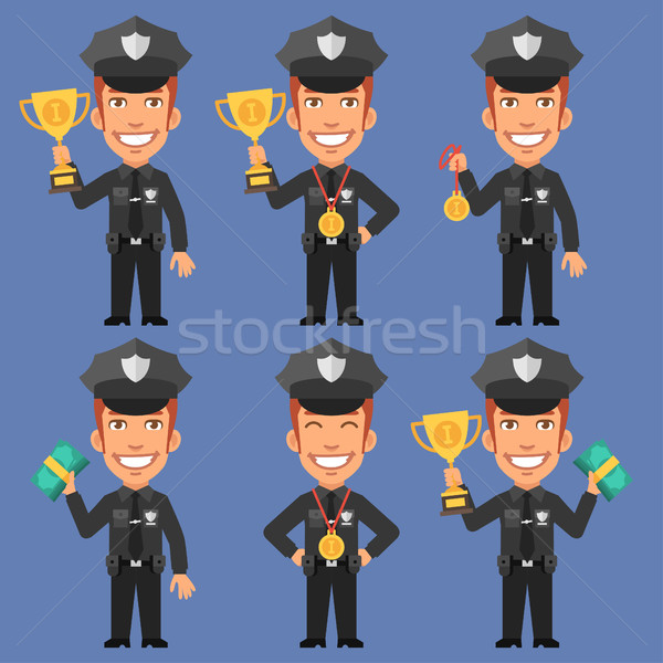 Policeman Holds Cup Medal and Money Stock photo © yuriytsirkunov