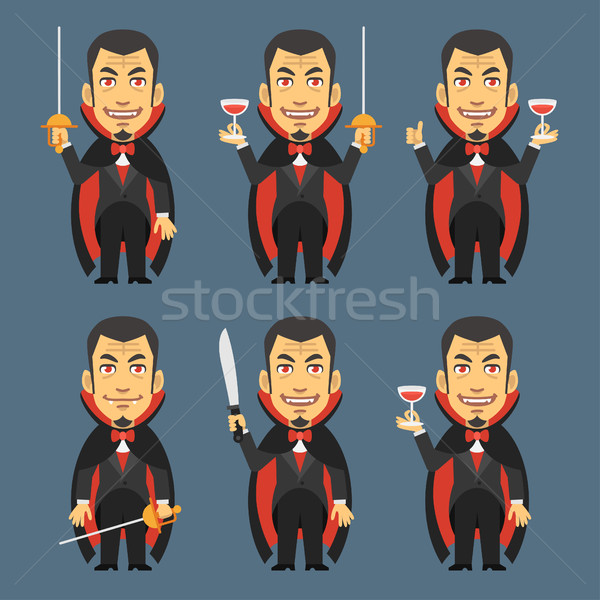 Vampire Holds Machete Sword Wine Stock photo © yuriytsirkunov