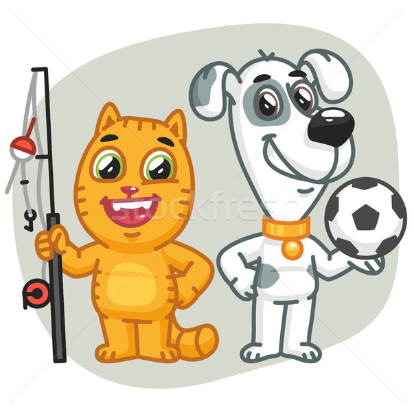 Cat Holding Big Fish Dog Holding Soccer Ball Stock photo © yuriytsirkunov
