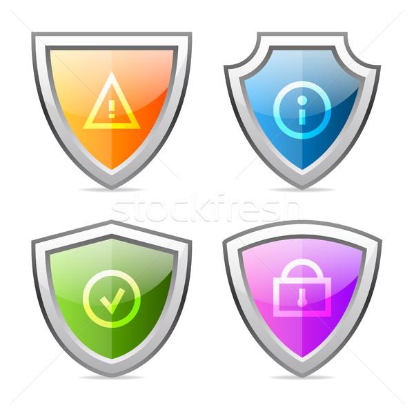 Set shields with identification signs Stock photo © yuriytsirkunov