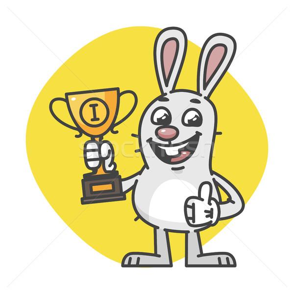 Bunny Showing Thumbs Up and Holding Cup Stock photo © yuriytsirkunov