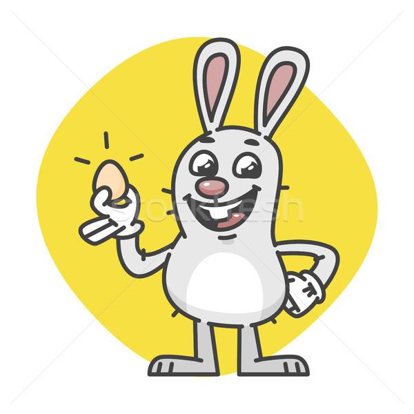 Conejo de Pascua sonrisas huevo mascota carácter diseno Foto stock © yuriytsirkunov