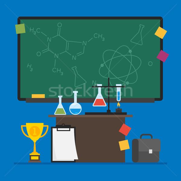 Kémia teszt csövek asztal bőrönd iskola Stock fotó © yuriytsirkunov