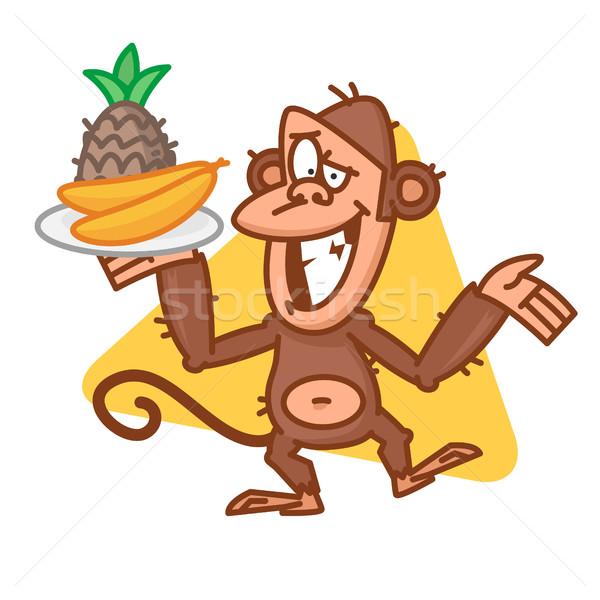 обезьяны лоток фрукты иллюстрация формат Сток-фото © yuriytsirkunov