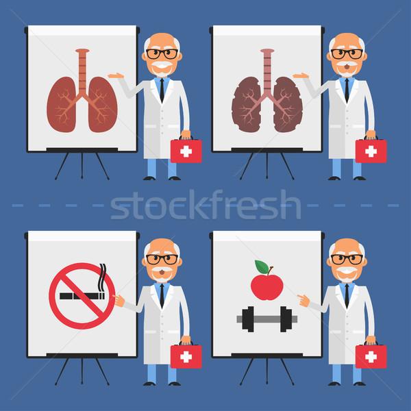Old doctor indicates on flip chart Stock photo © yuriytsirkunov