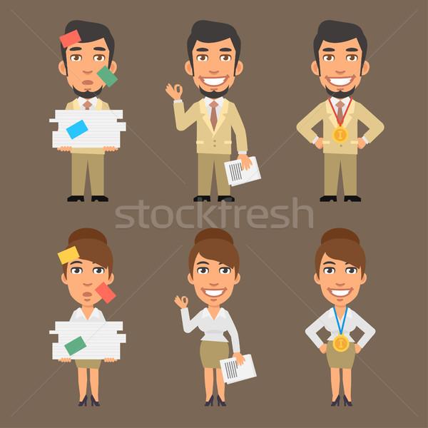 Zakenman zakenvrouw papier formaat eps Stockfoto © yuriytsirkunov