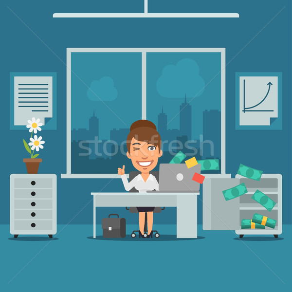 Businesswoman Sitting in Office and Rejoices Monetary Gain Stock photo © yuriytsirkunov