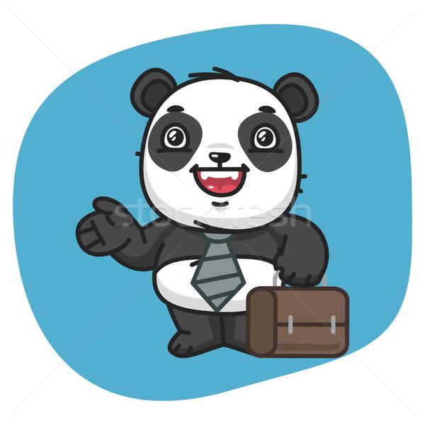Panda empresario maleta puntos formato Foto stock © yuriytsirkunov