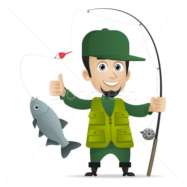 Concept cheerful fisherman holds fishing rod Stock photo © yuriytsirkunov