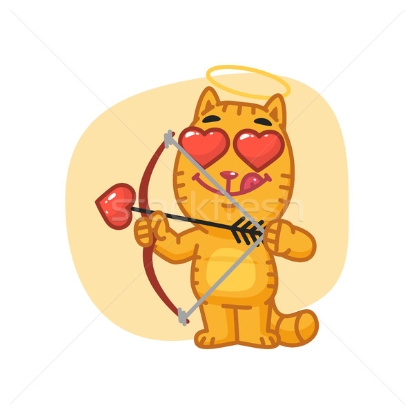 Cat Cupid Shoots from Bow Stock photo © yuriytsirkunov