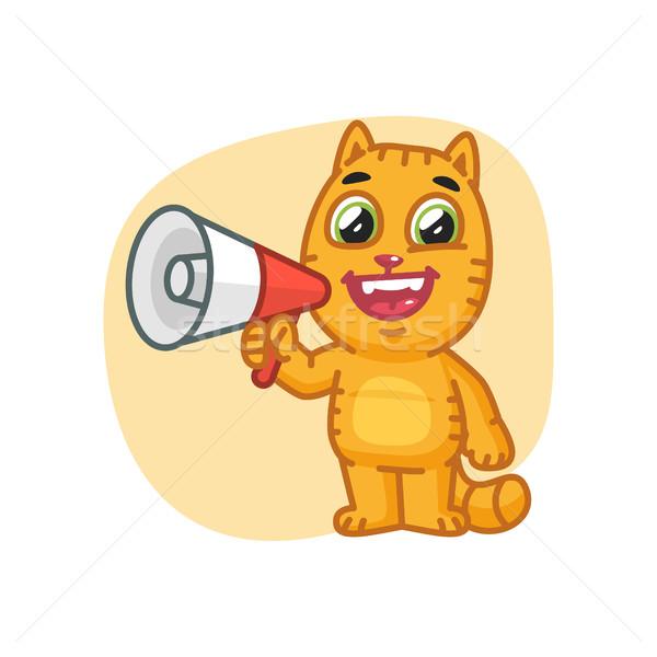 Kedi mutlu megafon format eps Stok fotoğraf © yuriytsirkunov