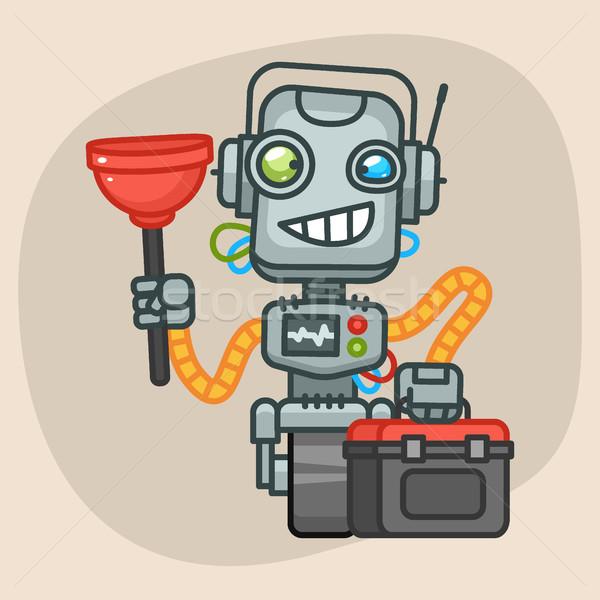 Robot Holds Suitcase and Plunger Stock photo © yuriytsirkunov