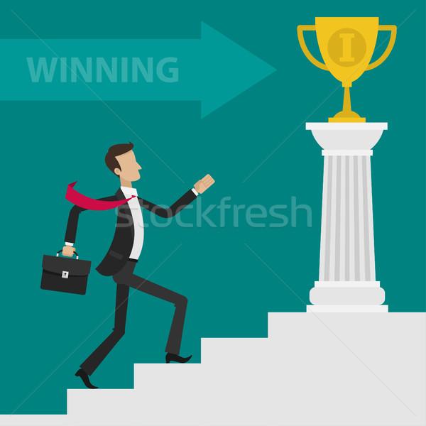 ビジネスマン キャリア はしご カップ 実例 フォーマット ストックフォト © yuriytsirkunov