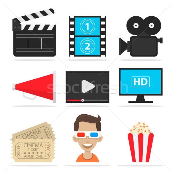 Icons set cinema Stock photo © yuriytsirkunov